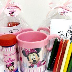 Caneca Minnie Rosa com kit colorir e bola de sabão