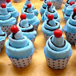 cupcake toalha azul