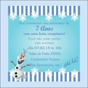 Convite Virtual Frozen Olaf