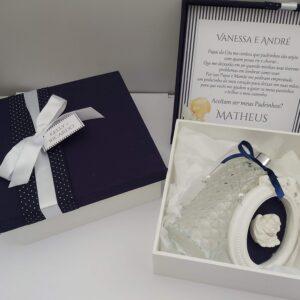 caixa convite padrinhos de batismo azul marinho